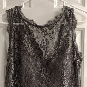 Gray Lace Cocktail Dress 12